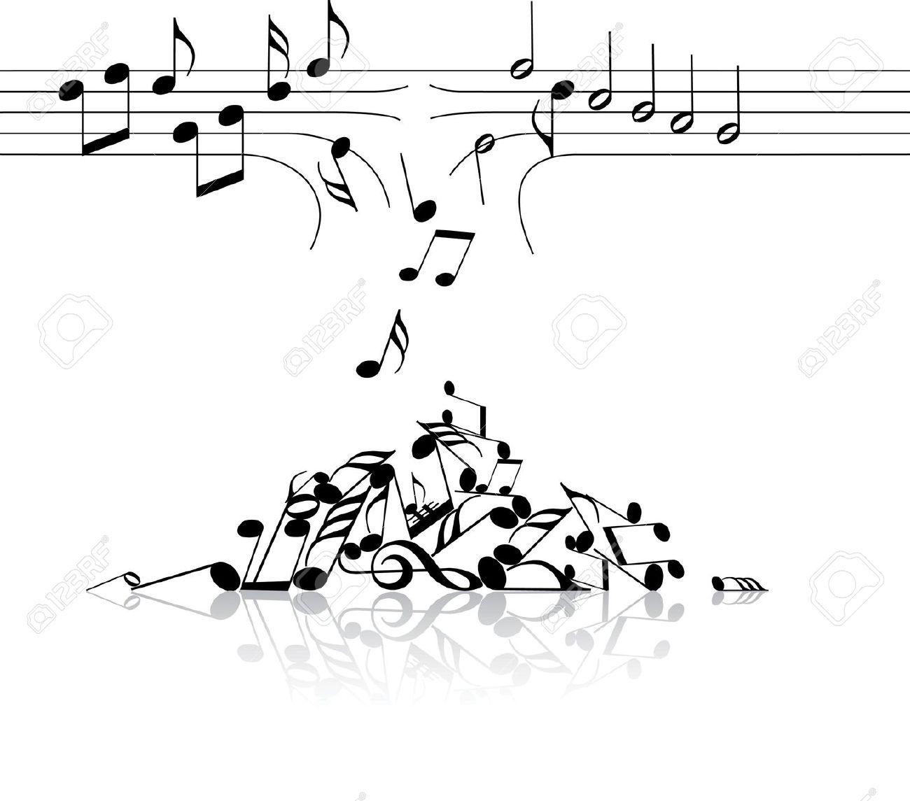 Muzieknoten vallen uit de kapotte balken